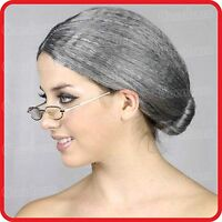 GRANNY-GRANDMA-GRANDMOTHER-NANNA-OLD LADY WOMAN-WIG-GREY HAIR WITH BUN-COSTUME