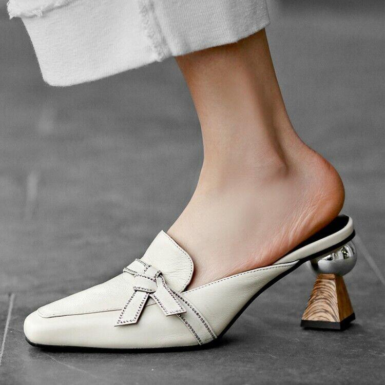 L DONNA TACCO ALTO Bowknot Muli Tondo Punta Quadrata Scarpe sandali alla moda pompe Slip