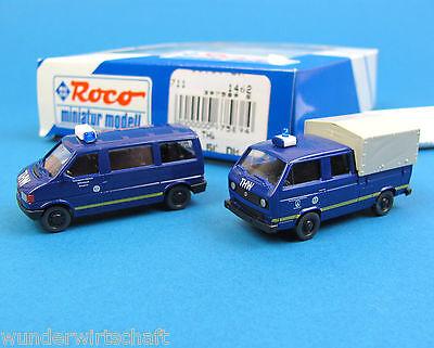 Roco H0 1462 THW-Set VW T4 Bus + VW T3 DoKa Pritsche Plane HO 1:87 Volkswagen
