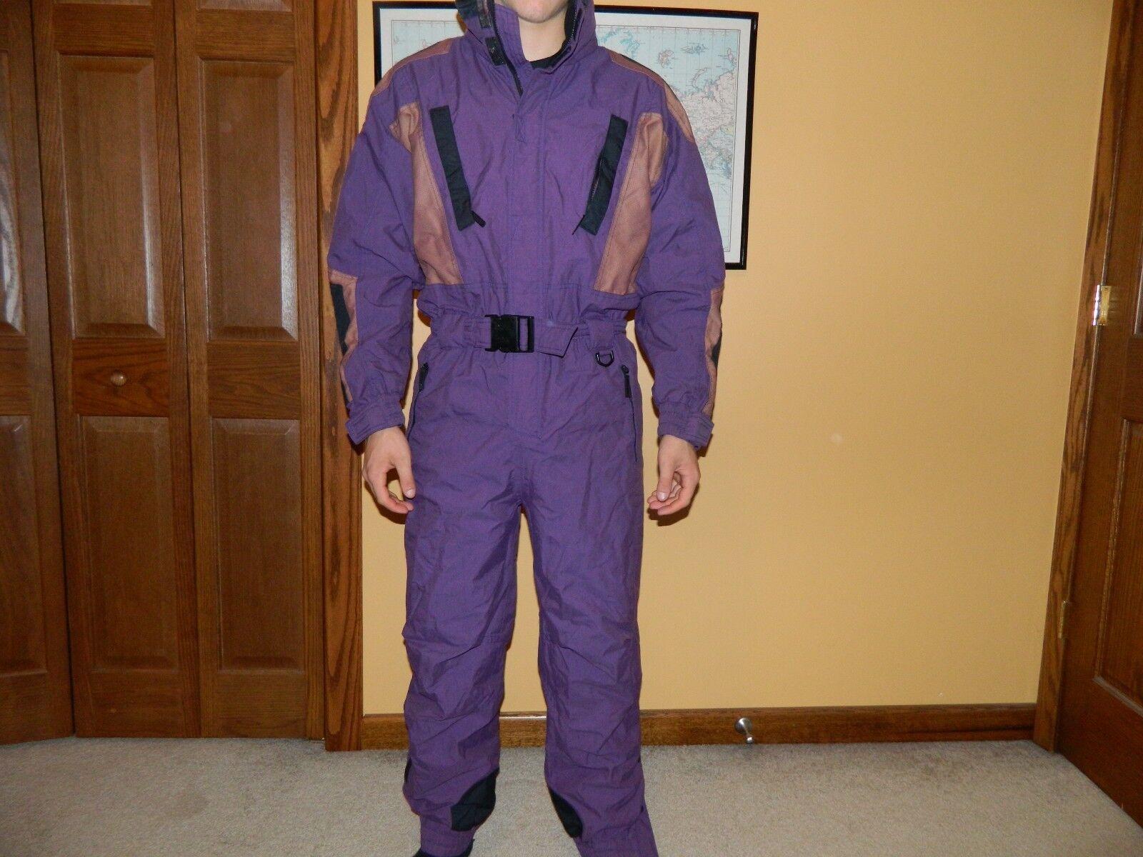 Vtg 90s Mens Medium Purple POWDERHORN One Piece SKI SUIT Snowboard Bib Snowsuit