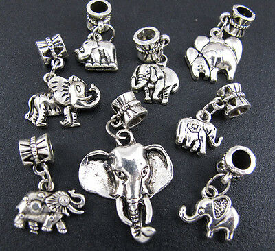 100pcs Lots Mixed Elephant Charms Silver Dangle Beads Fit European Bracelets
