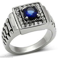 Round Shape Montana Blue Stone Silver Stainless Steel Mens Ring