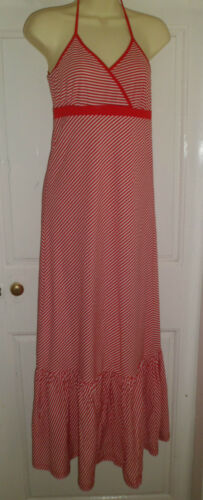NEW RED MAXI DRESS HALTER NECK RED AND WHITE STRIPES SIZES 10 OR 12 ONLY