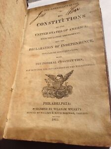 Manuscripts Modest American's Guide The Constitutions ~ Declaration Articles ~ 1813 Philadelphia