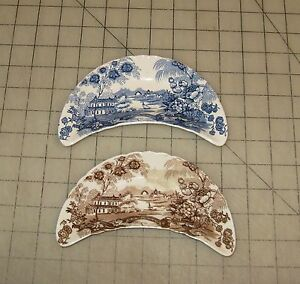 2-Vintage-Royal-Staffordshire-Clarice-Cliff-034-Tonquin-034-Brown-Blue-Bone-Dishes