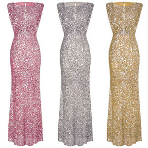 Women Formal Sequin Long Dress Prom Evening Party Cocktail Bridesmaid Wedding
