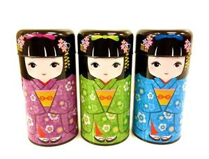 Japanese-Kokeshi-Doll-Kimono-kawaii-Double-Lid-Canister-Container-Made-in-Japan