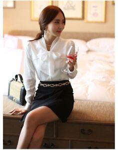 online retailer 3586d 0963d Donna Sintetico raso di seta fiocco Camicie Chiffon Slim Top ...