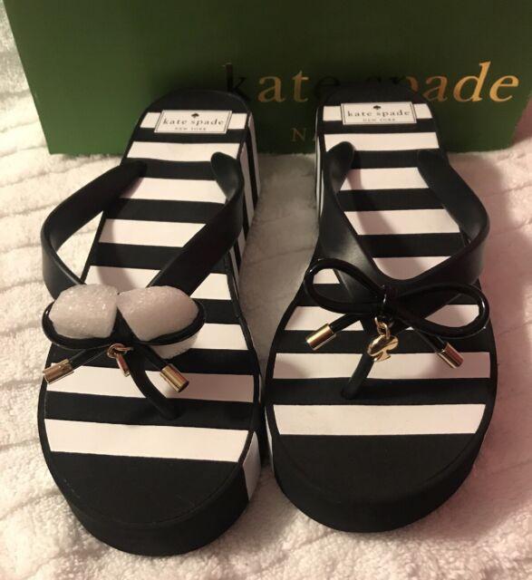 99fc28068bf8 KATE SPADE Women s Rhett Wedges Flip Flops Sandals Black White Stripe Size 9