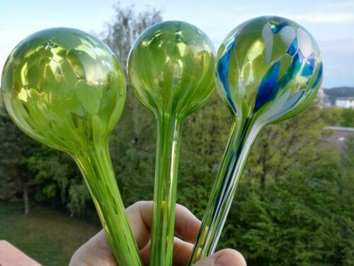 Bewässerungskugel Glas Durstkugel Gießhilfe Wasserspender Hell Grün aus Böhmen