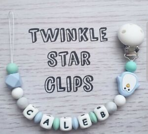 100/% Full Silicone Personalised Dummy Clip Baby Blue Grey Pastel Penguin