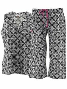 Hanes-Womens-Black-Damask-Capri-Woven-Cotton-Pajamas