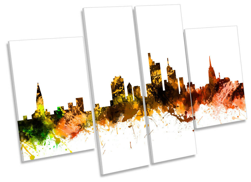 Frankfurt Germany City Skyline CANVAS WALL ART MULTI Panel Picture Print