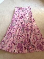 $250 D&G Dolce & Gabanna Pink Purple Floral Tiered Long Skirt Cotton Sz 4 IT 38