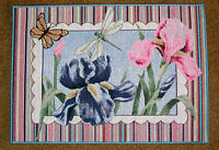 Floral Rainbow Ii Iris/dragonfly/butterfly Tapestry Placemat