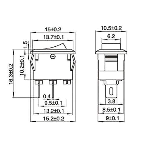 KCD1-11 10x15mm Mini Red 2pin Rocker Switch On-Off AC 3A250V//6A125V Push Switch