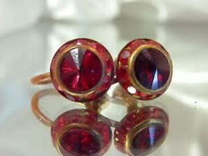 Ruby-Red-Deco-Rhinestone-Vintage-40-039-s-Screw-Back-Reverse-Crystal-Earrings-516a9
