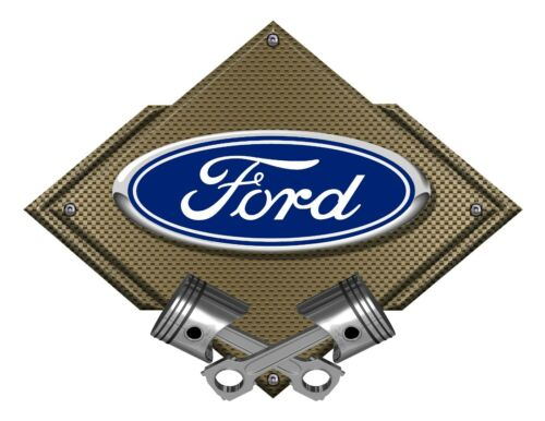 Ford Licensed Ford Blue Oval Bronze Carbon Diamond Metal Art Wall Sign