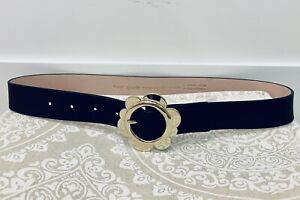 NWT-Kate-Spade-Flower-Belt-Gold-tone-Daisy-buckle-on-Black-Leather-Size-S-NEW