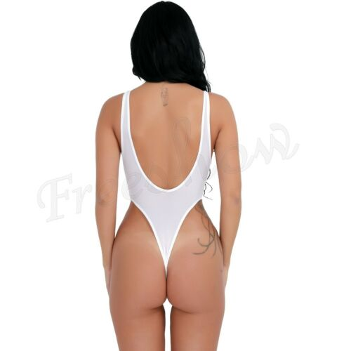 Womens Patent Leather Lace-up Leotard Zipper Catsuit Clubwear Costume Bodysuit