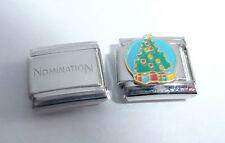 CHRISTMAS TREE 9mm Italian Charm & 1x Genuine Nomination Classic Link HAPPY XMAS