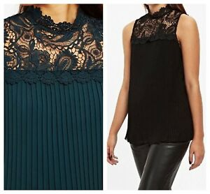 ex-Wallis-High-Neck-Lace-Yoke-Pleated-Evening-Party-Top