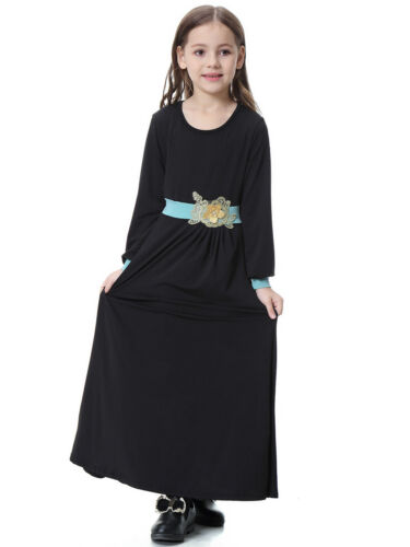 Kaftan Milk Silk Maxi Dress Muslim Kids Girl Robe Dubai Islamic Longsleeve Abaya