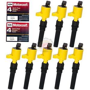8-pack-Ignition-Coil-DG508-yellow-Motorcraft-Spark-Plug-SP479-For-Ford-Lincoln