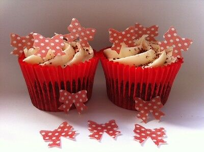 40 PRE-CUT Edible Minnie Mouse Bows Wafer Paper Cupcake Toppers
