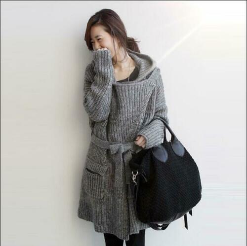 HOT Womens Sweater Long Coats Belted Hooded Cardigan Loose Jacket Knitted Parka