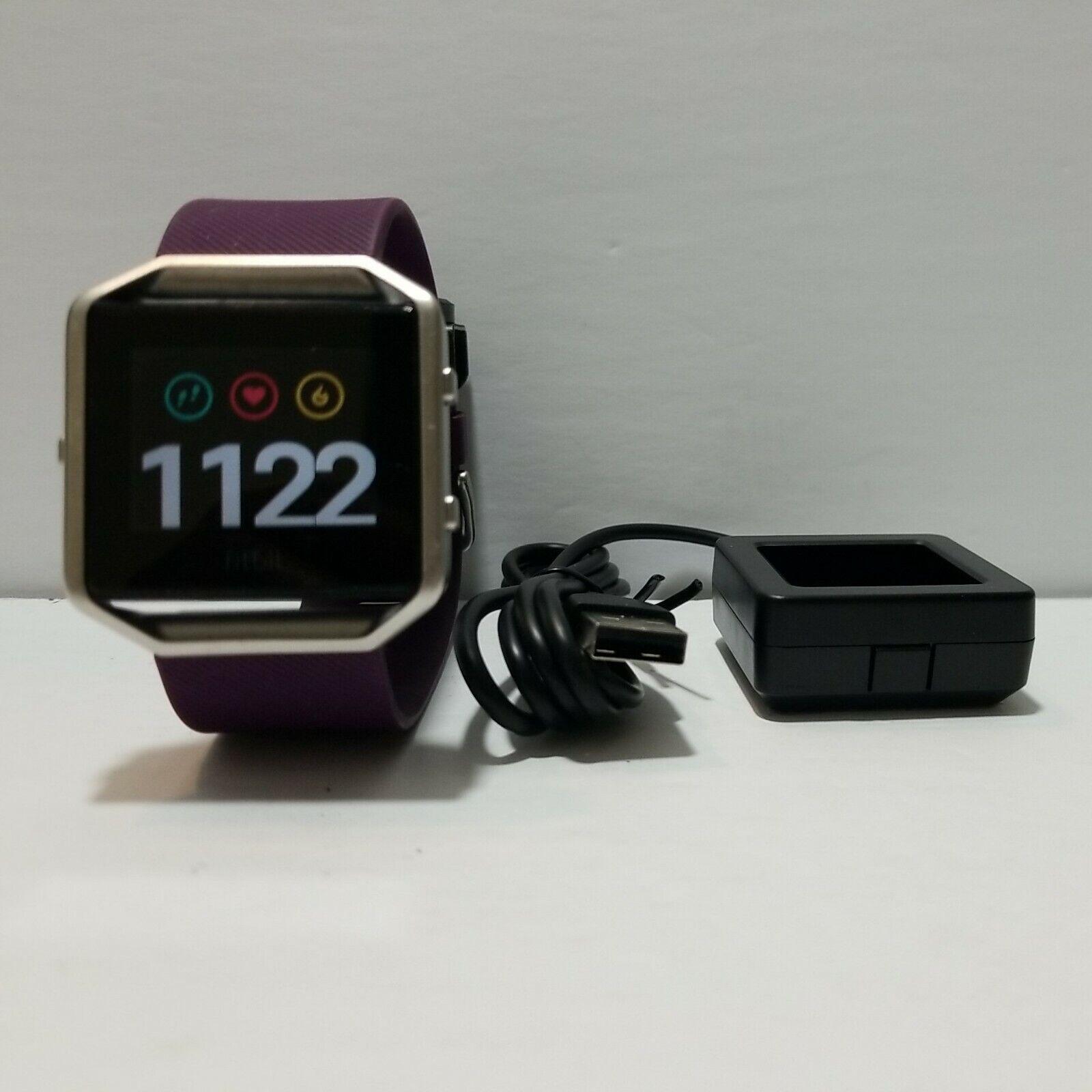 Fitbit Blaze Smart Fitness Watch Activity Tracker. Plum Large Band.