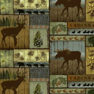 Mountain-Pines-Lodge-Multi-David-Textile-100-Cotton-Fabric-by-the-yard