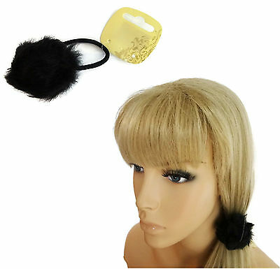 Fluffy Pom Pom Bobble Hair Elastic with Black Faux Fur