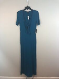 ee9c0086dfe Image is loading Express-Small-Keyhole-Teal-Maxi-Long-Stretch-Dress-