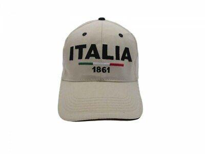 Cappello Italia Ricamato Misura 58 Cm Regolabile 1861 Anno Nascita Stato Beige Può Essere Ripetutamente Ripetuto.