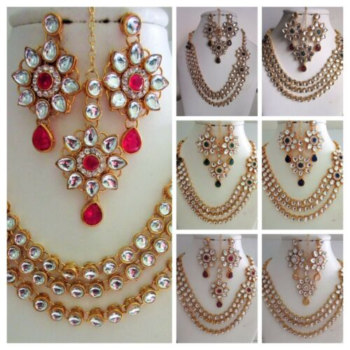 Indian Fashion Jewelry Bollywood Bridal Party Kundan Set Necklace Earrings Tikka
