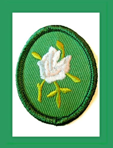 WHITE ROSE Girl Scout TROOP CREST Retired 1989 NEW Badge VOLUME DISCOUNT