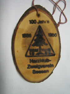 Harzklub, 100 Jahr-Feier, Seesen 1986, Holzbrand-Abzeichen - Seesen, Deutschland - Harzklub, 100 Jahr-Feier, Seesen 1986, Holzbrand-Abzeichen - Seesen, Deutschland