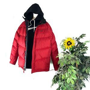 Mens-Vintage-Nike-Puffer-Jacket-XL-Red-Coat-Winter-Gray-Tag-Black-Swoosh-X-Large