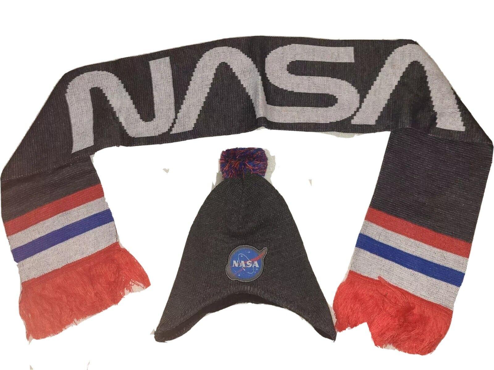 NWOT NASA Scarf & Earflap Beanie Set Loot Crate Lootwear Exclusive Adult OSFM