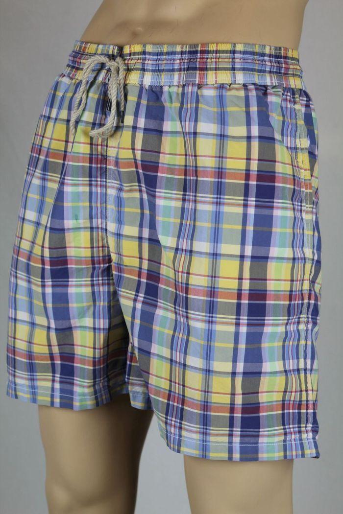 Ralph Lauren Yellow bluee Red Plaid Swim Shorts Trunks NWT 2XB