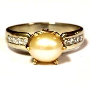 14k-yellow-white-gold-40ct-SI1-H-diamond-pearl-ring-5g-estate-vintage-antique