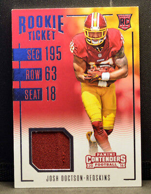 2016 Panini Contenders Rookie Ticket JOSH DOCTSON Redskins Jersey Patch NM   eBay