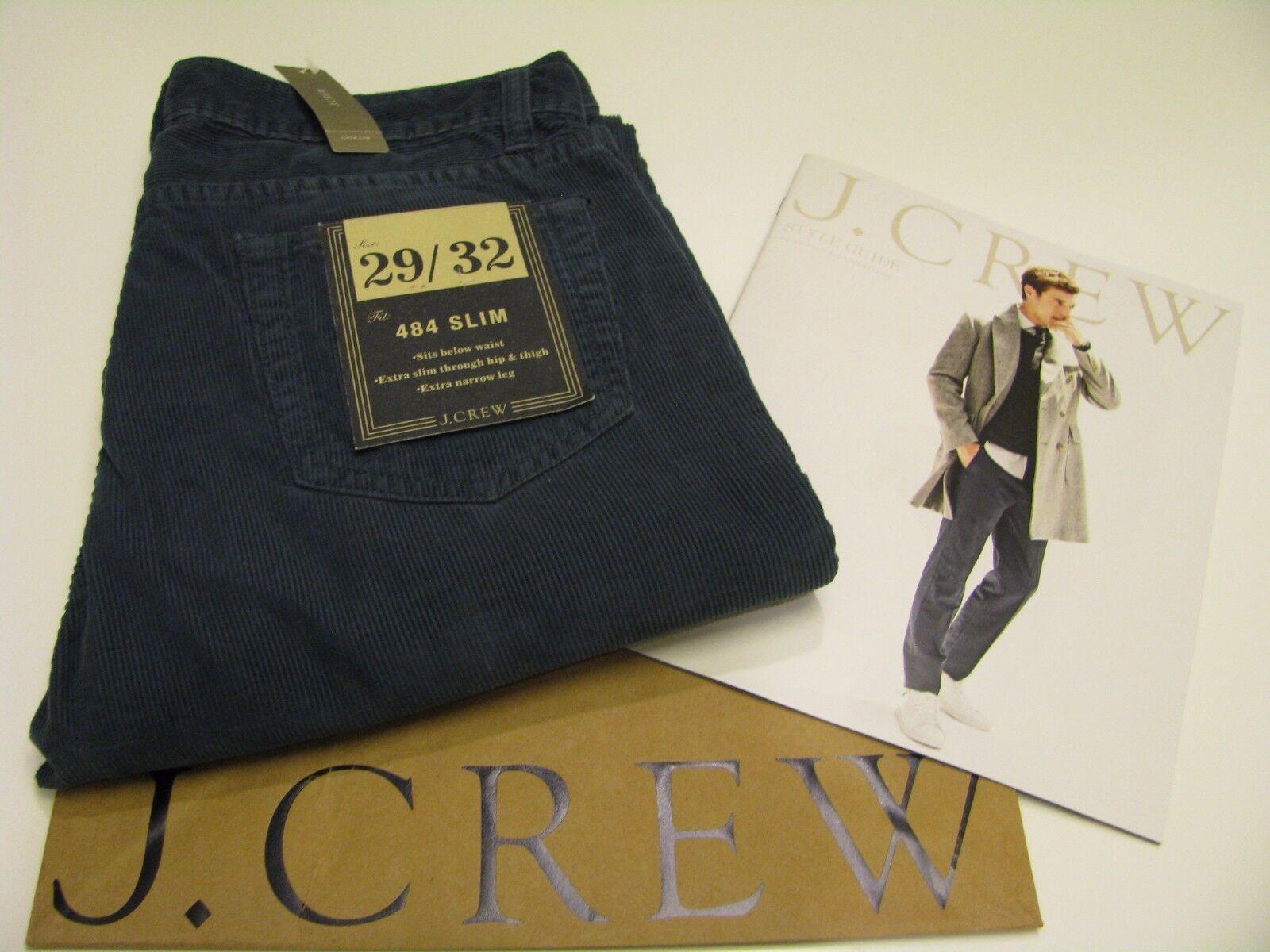 NWT AUTHENTIC J.CREW Men's 484 Slim bluee Corduroy Jean Pant Size 29   32