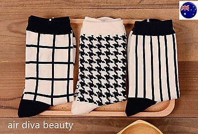 1Pair Women Girls Cotton Retro Black White Check Warm Fashion Short shoes Socks