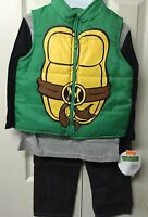 Ninja Turtles Boys Pants Set Vest Jacket Size 3t Fall Winter 3 Piece Green Jeans