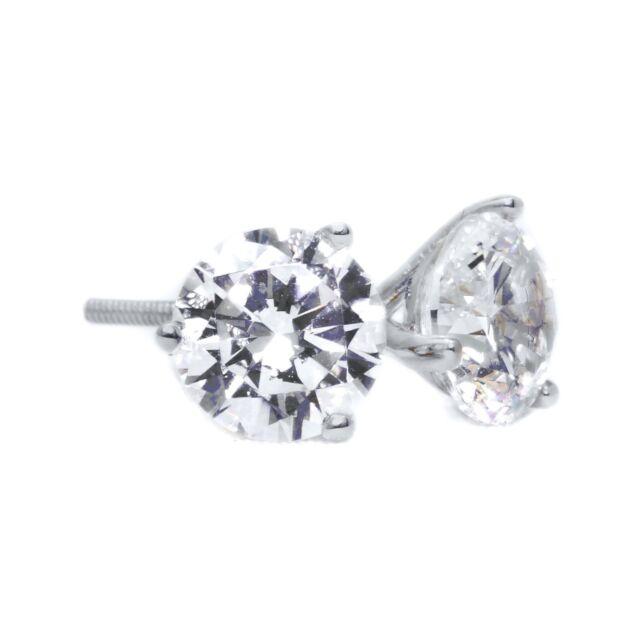 36805617e 1.5 Ct Round Cut Martini Diamond Earrings Solid 14k White Gold Screw Back  Studs