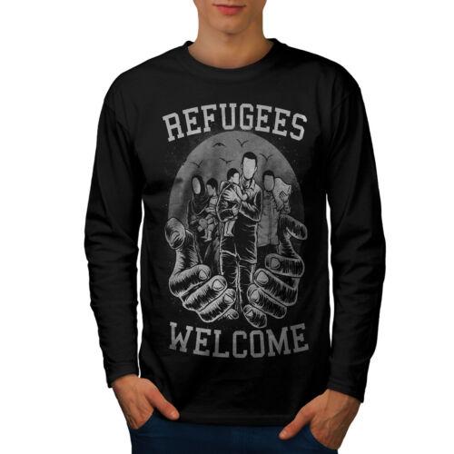 I rifugiati Benvenuto Uomini Manica Lunga T-shirt Nuovewellcoda