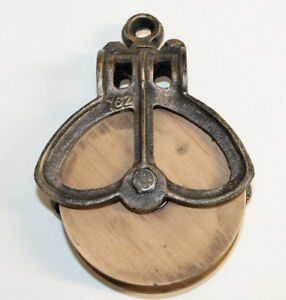 New-Antique-Primitive-Style-Cast-Iron-Wood-Pulley-Barn-Farm-House-Decor-Rustic