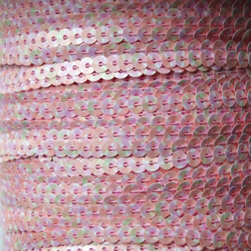 Sequin Stitched Trim 4mm Petite Opaque Pinks Strung by the yard. Made in USA